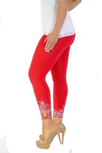 Neu Damen Übergröße Laser Schnitt Gamaschen Frau Ladies Plus Size Leggings mit Loch Laser Cut Nouvelle Collection Rot