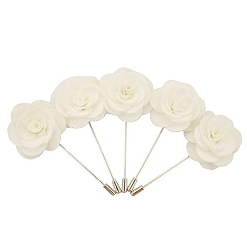 steckblume Handgefertigt Brosche Blume im Knopfloch Für Anzug(5 Stück) (Weiße) (Ansteckblume Hochzeit)