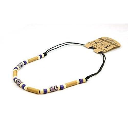 Leder Halsband aus Fimo & Bambus von TOC (Bambus Halsband)