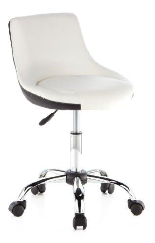 hjh OFFICE 685950 chaise lounge, tabouret pivotant STEADY blanc et noir, revêtement bicolor en simili-cuir, piètement en acier chromé, réglable en hauteur, dossier à mi-hauteur, design élégant