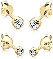 Elli Women Genuine Jewellery Earrings Stud Ear Sparkle Basic 925 Sterling Silver Swarovski Crystals
