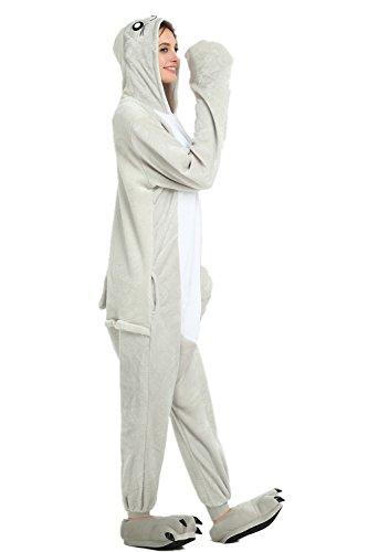 amas Overall Tier Phantasie Halloween Kostüm Schlafanzug Cosplay Overall Pyjama Nachtwäsche Erwachsene Unisex (M, Grey) (Sea Lion Kostüme)