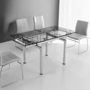 Table en Verre a Rallonge Extensible 145/100 X 75 cm Quartz