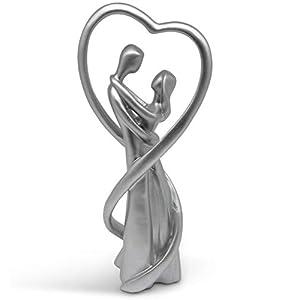 MeloDesign Harmonisches Paar in Silber - Moderne Skulptur 28 cm hoch - stilvolles Symbol für Liebe und Zuneigung - Deko gut als Geschenk-Idee geeignet