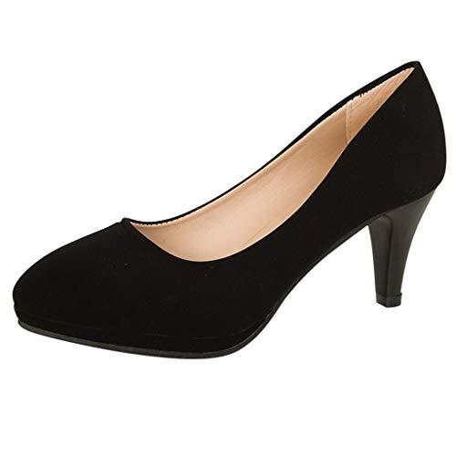 Frauen Lady Fashion Arbeitstagebuch Comfort Shallow Schwarz Pumps High Heels Schuhe