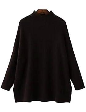 Las Señoras Sueltan La Manga Del Palo El Suéter Hecho Punto Clásico Del Collar Alto