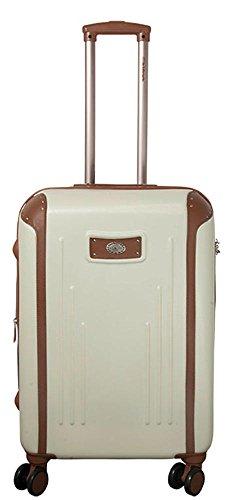 Hartschalen ABS Koffer Trolley Reisekoffer Reisetrolley Handgepäck Boardcase Dakar (Weiß, L)