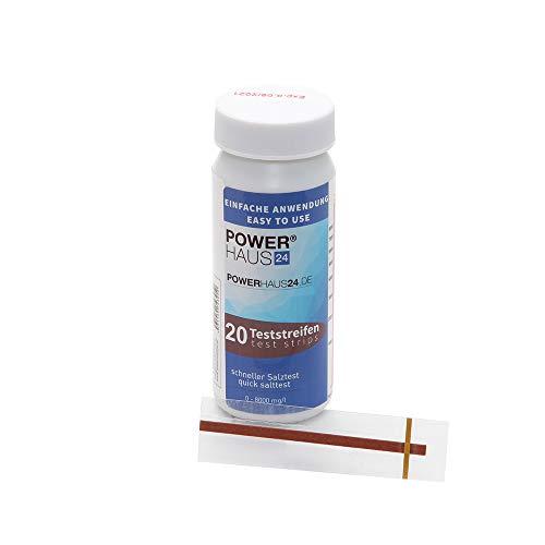 POWERHAUS24 Teststreifen für den Salztest im Pool und Whirlpool, 20 Stück, NaCl 0-8000 mg/l, Bestimmung von Salzgehalt bei Salzelektrolyse-Verfahren