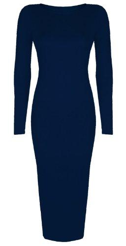 Femmes Célébrité inspiré Uni Manches Longues Midi Moulante Robe Mi-mollet -Taille 8-26 Bleu Marine