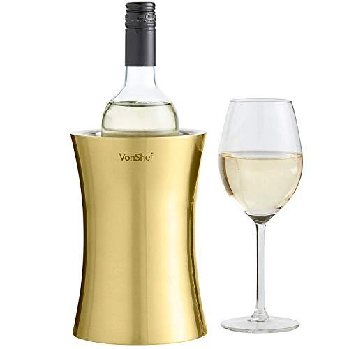 VonShef Weinkuehler Edelstahl doppelwandiger Weinkühler Kühler Halter (Gold)