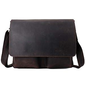 Maletín de Negocios de Cuero Vintage para Hombres Bolsa de Ordenador portátil de 13″Bolsa de Ocio de Cuero de Crazy Horse (Color : Brown, Size : 35×7.5x28cm)