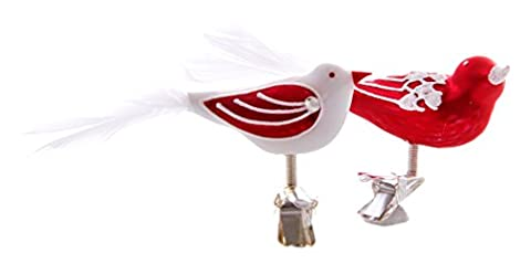 glassor 5025 Christmas Ornaments – Set of 2, Red, 2 Different type of Birds, verre, 5 x 2 x 3 cm