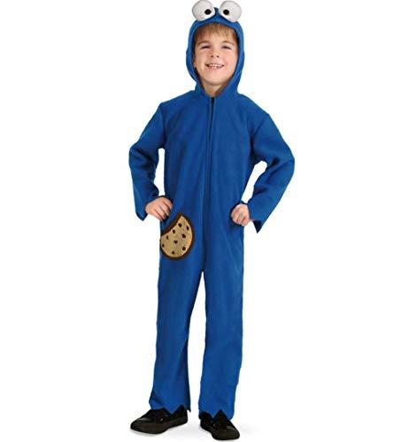 KarnevalsTeufel Kinderkostüm Keksmonster Einteiler in blau mit Kapuze und Seitentasche Overall (104)