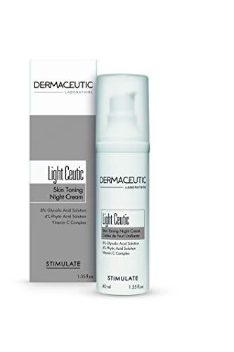 Dermaceutic Light Ceutic - Hautstraffende Nachtcreme - Aufhellende Anti-Aging-Gesichtscreme mit Glykolsäure, Phytinsäure und Vitamin C - Antifaltencreme - 40 ml -