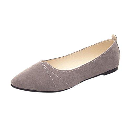 OverDose Ballerines Chaussures Plats Suédine, Femme Mocassins Pointure Casual Soft Slip-On Shoes