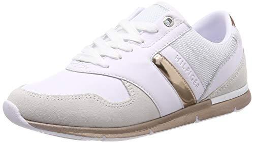 Tommy Hilfiger Damen Iridescent Light Sneaker Weiß (White-Rosegold 901) 40 EU