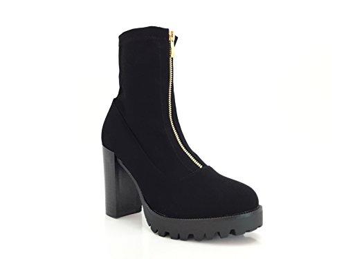 CHIC NANA . Chaussure femme bottine à talon, effet nubuck, dotée d'une fermeture éclair centrale dorée, confortable talon large.