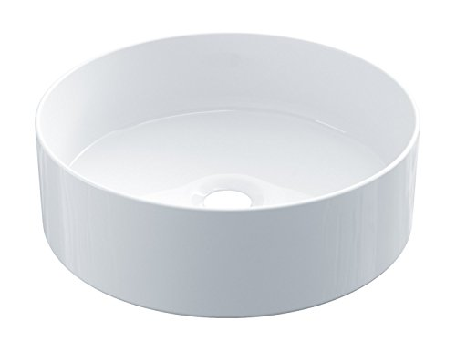 STARBATH PLUS Keramik Aufsatzwaschbecken Waschschale Handwaschbecken Kreisform SFINCIL 35 x 35 x 12 cm (Glanz Weiß)