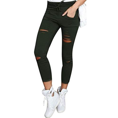 Abbigliamento donna pantaloni casual tagliuzzati nove pantaloni-skinny a vita alta casual elastico lunghi slim tagliuzzati-plus size jeans moda estate pantalone(army green,s)