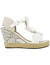 Amazon es Zapatos Cuñas Para Mujer Esparto Blanco WD2ebE9IYH