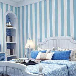 DUOCK Rosa blaue breite gestreifte Tapete für Kinderzimmer Wandtattoo selbstklebende Schlafzimmer Wohnzimmer Streifen Papiere Wohnkultur Qz122, Sky Blue, 0.53Mx3M