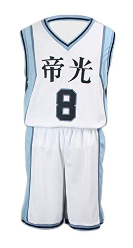 Chong Seng CHIUS Cosplay Costume Jersey Set for Teikou Middle School No. 8 Kise Ryouta (Japanese School Boy Kostüme)
