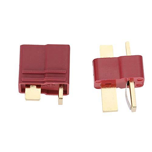 GLOGLOW 1 Paar Ultra T Stecker Deans Stil Männlich und Weiblich Anschlüsse Safe Wireless Adapter für RC Lipo Batterie(Rot) -