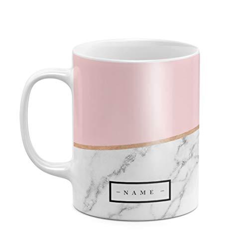 Personalisiert Tasse, Initialen von Vor- und Nachname, Custom Initiale Name Rosa Marmor Create Your Own Customized Pink Marble Zitat, hitzebeständig, aus weißer Keramik, 325 ml Kaffeetasse Teetasse