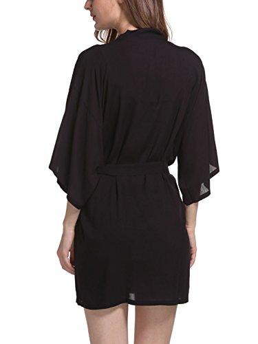 Feoya - Femme Robe de Chambre Manches 3/4 - Chemise de Nuit Femme Courte - 9 Couleurs Noir