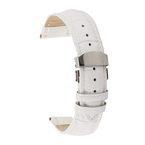 Echtes Leder Uhrenarmband 22mm weiß Ersatzarmband Armband Leder Herren Damen (Navy Leder Uhrenarmband)