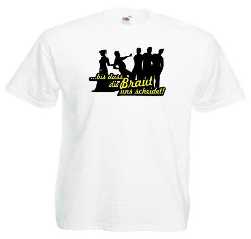 T-Shirt für den Junggesellinnenabschied mit dem Motiv ...bis dass die Braut uns scheidet Weiß