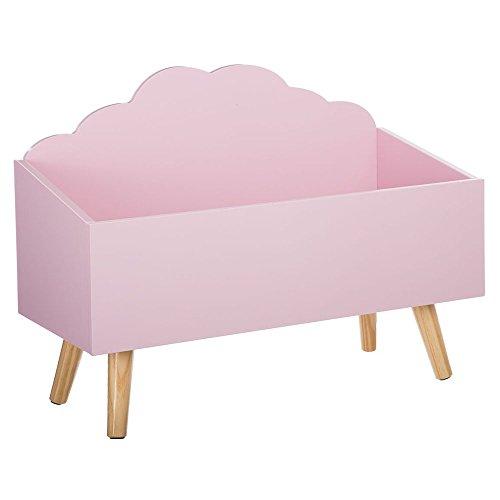 Coffre à jouets nuage rose en bois