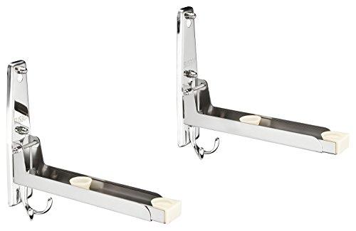 Mikrowellenhalterung Mikrowellenhalter Wandhalter Regal für die Mikrowelle mit 4 Haken aus Edelstahl inkl. Montagematerial, Halterung und Unterbau für die Küche, Farbe:silber