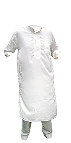 Desert Dress - Herren Afghan Pakistani Indisch Shalwar Kameez Anzug Kostüm Elegant Hosen Shirt - nicht angegeben, Weiß