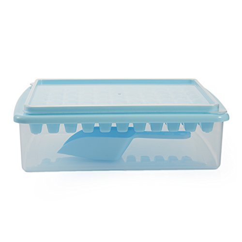 Scoop-speicher (Eiswürfelform, mit Deckel, Ice Scoop, Aufbewahrungsbox, lebensmittelkontakt BPA-frei Ice Form macht 55quadratisch Eiswürfel blau)