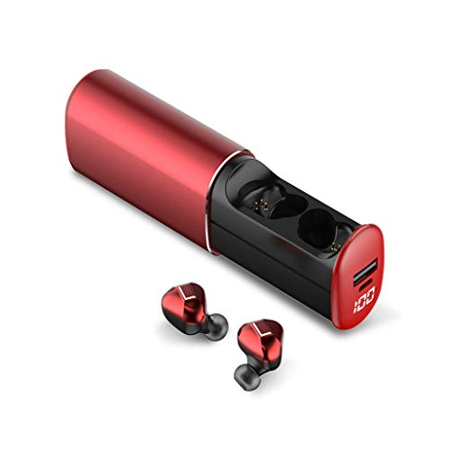 Bluetooth KopfhöRer, LQIANMini Twins True V5.0 Bluetooth KopfhöRer Im Kabellosen Sport-OhrhöRer Drahtlose OhrhöRer Deep Bass HD Stereo, Noise Cancelling-KopfhöRer Mit Mikrofon (rot)