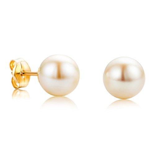 Orovi Damen Ohrringe Perlen Set Ohrstecker 18Karat Gold Gelbgold (750) Schmuck (Hoop Ohrringe Perlen Mit)