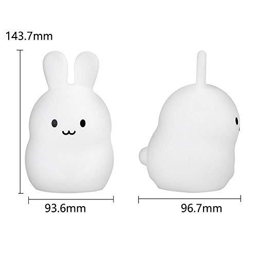 ZCHPDD Nettes Baby Cartoon Kaninchen Led Nachtlicht Timing Fernbedienung Touch Sensor 9 Farbe USB Silikon Weiß 144 * 120 * 187 Mm (Fernbedienung)