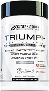 Triumph Testosterone Booster for Men: Best Test Booster and Estrogen Blocker for Men with DIM, KSM 66 Ashwagandha, and Boron Citrate, Build Natural Lean Muscle Mass and Strength, 56 Veggie Capsules from Cutler Nutrition