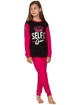 Selfie Queen, pigiama lungo da bambina e ragazza, rosa e nero