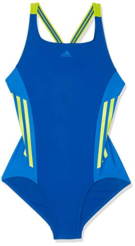 adidas Mädchen Fit 1 Piece Colorblock Badeanzug, Collegiate Royal/Semi Solar Yellow, 152