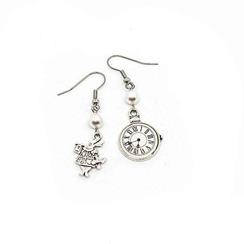 Orecchini pendenti Alice inspired con bianconiglio e orologio