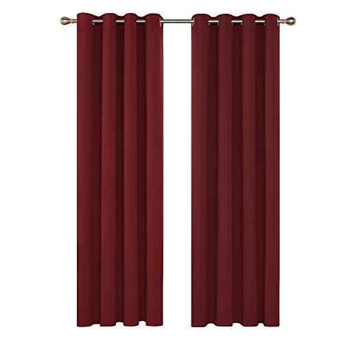 Deconovo Verdunkelungsgardinen mit Ösen Schlafzimmer Gardinen Vorhang Blickdicht 280x140 cm Rot 2er Set