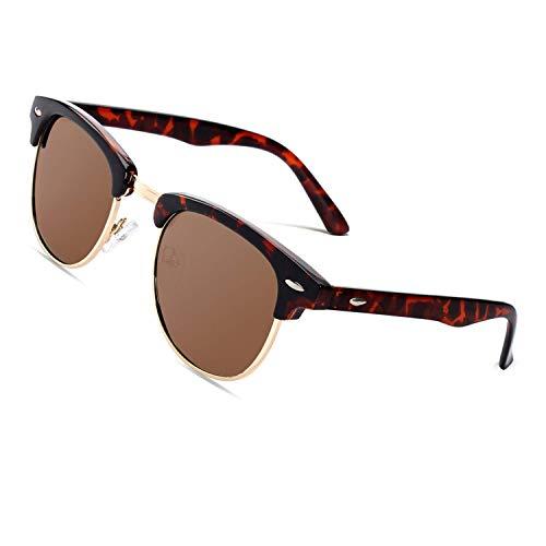 CGID MJ56 clubma Retro Vintage Sonnenbrille im angesagte 60er Browline-Style mit markantem Halbrahmen Sonnenbrille,Mehrfarbig-Braun