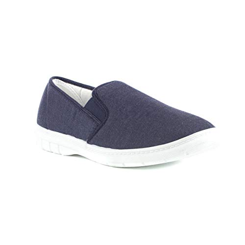 Hobos Mens Twin Gusset Canvas Shoe in Blue - Size 9 UK - Blue bf105b55df7