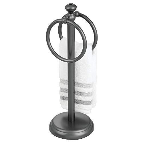 mDesign Toallero pequeño para el lavabo - Portatoallas independiente con 2 anillas para pequeñas toallas de invitados - Soporte para toallas compacto de metal - gris grafito