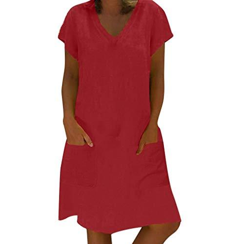 leid Sommer tropischen Stil Volltonfarbe V-Ausschnitt Tasche beiläufige lose Hemdkleid ()