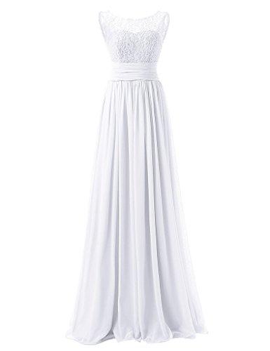 JAEDEN Une ligne Robes de bal Longue Mousseline de soie Robe de soir¨¦e Robe de f¨ºte Blanc
