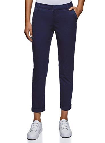 oodji Ultra Mujer Pantalones Básicos de Algodón, Azul, ES 38 / S