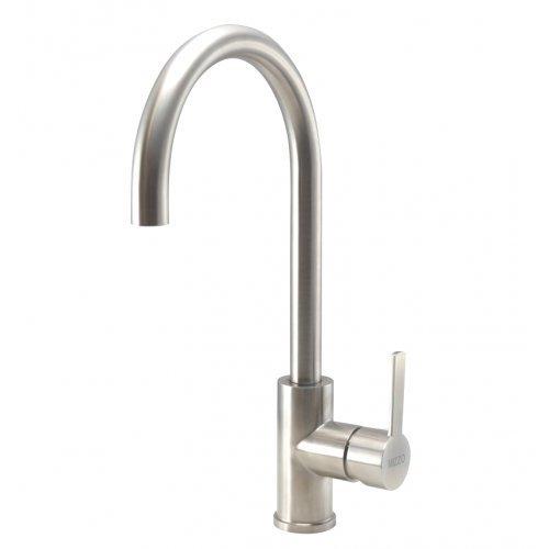 Spültischarmatur Wasserhahn Küche Spültisch Armatur Mizzo Design Verdo | 100% Edelstahl Mischbatterie | Matt Gebürstet | Küchenarmaturen Waschtischarmatur Einhebelmischer |